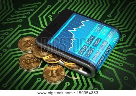 Concept Of Digital Wallet And Gold Bitcoins On Green Printed Circuit Board. Bitcoins Spill Out Of The Curved Smartphone. 3D Illustration.