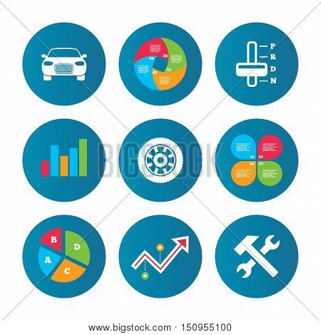 Business pie chart. Growth curve. Presentation buttons. Transport icons. Car tachometer and automatic transmission symbols. Repair service tool with wheel sign. Data analysis. Vector