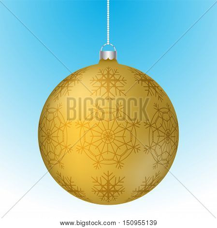 Realistic 3D yellow christmas ball with white reflections and abstract snowflake pattern on surface hanging on white rounded chain. gold rounded christmas decoration with snowflakes hanging.