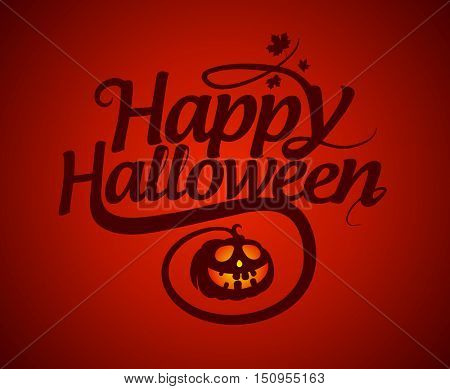 Happy halloween calligraphic card with pumpkin, rasterized version