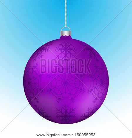 Realistic 3D purple christmas ball with white reflections and abstract snowflake pattern on surface hanging on white rounded chain. Violet rounded christmas decoration with snowlakes hanging.