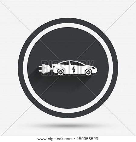 Electric car sign icon. Sedan saloon symbol. Electric vehicle transport. Circle flat button with shadow and border. Vector