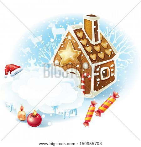Christmas sticker with Gingerbread house