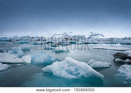 Icebergs on the shore of Jokulsarlon glacier lagoon