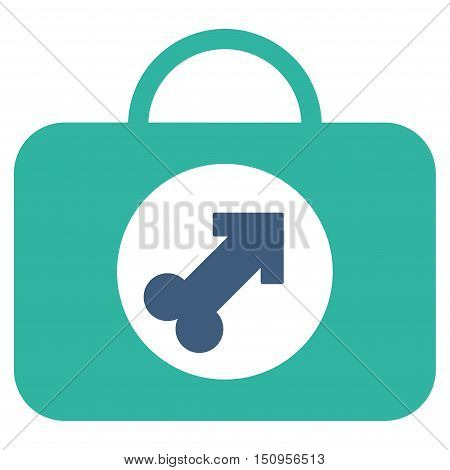 Male Erection Case vector icon. Style is bicolor flat symbol, cobalt and cyan colors, rounded angles, white background.