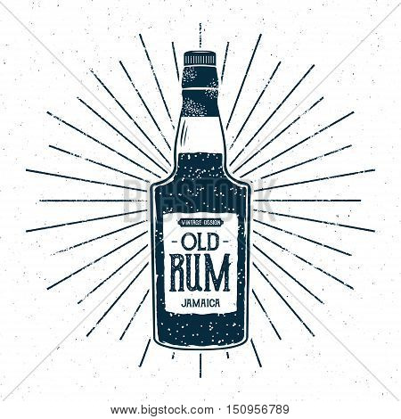 Retro rum bottle label design. Vintage alcohol badge, typography poster for tee design, printing t-shirt, web projects. With grunge distressed effects and star burst elements. Isolated.