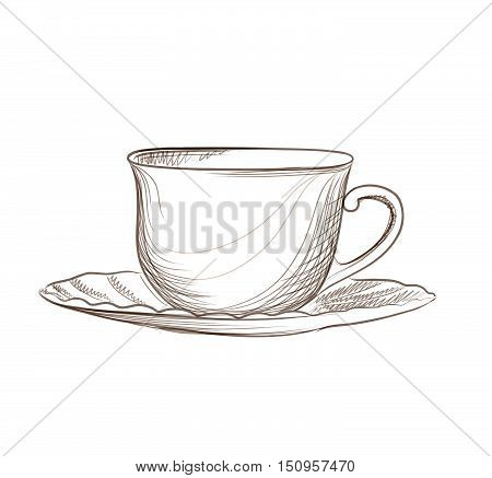 Classical tea cup with saucer sketching isolated. Hand drawn engraving vector illustration