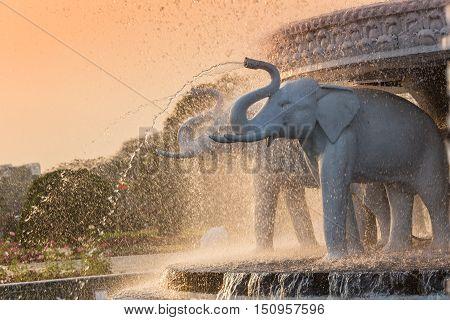 Elephant head fountain at BAPS Shri Swaminarayan Mandir in Atlanta, GA - the largest Hindu temple outside of India.
