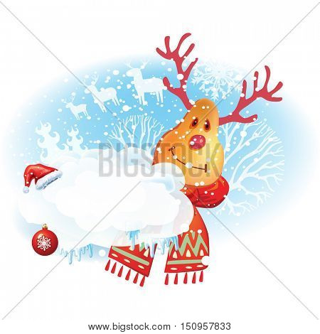 Christmas sticker with deer