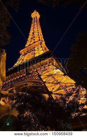 Las Vegas USA - May 13 2006: Eifel Tower replica at Paris Las Vegas hotel and casino