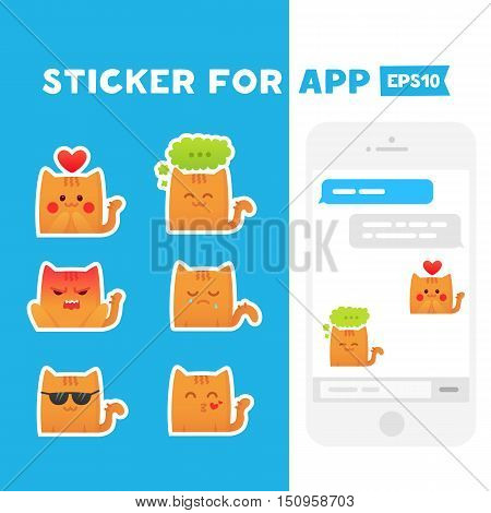 Sticker for app. Mobile messages. Cute cats