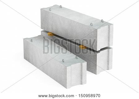 stack of foundations concrete blocks 3D rendering isolated on white background
