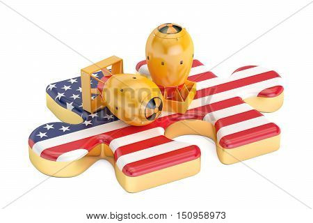 USA atomic weapon concept 3D rendering isolated on white background