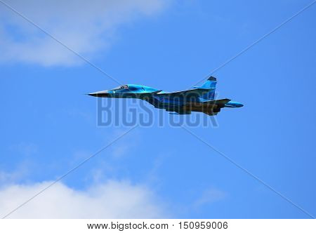 Side view of the modern russian fighter SU-34