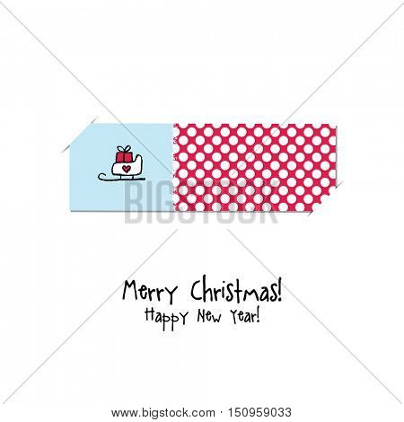 Christmas and New year greeting card. Label, gift card, sticker design. Design element.