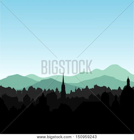 City skyline. Buildings silhouette cityscape. Old city street in early morning. European Alps mountains urban landscape.