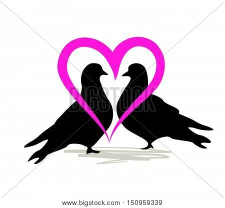 Doves in love. Wedding icon. Marriage Love Letter. Birds pair vector silhouette