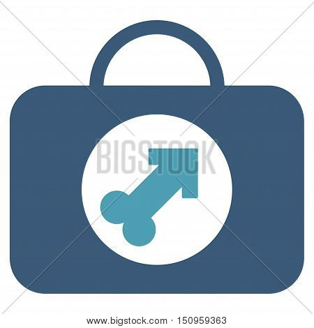 Male Erection Case vector icon. Style is bicolor flat symbol, cyan and blue colors, rounded angles, white background.
