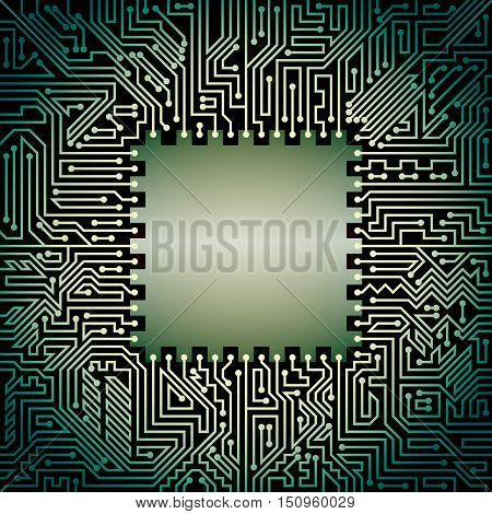 Computer motherboard background of green and black shades. Computer hardware technology