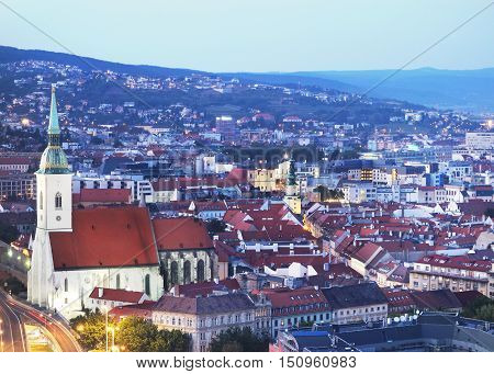 View of Old Town in Bratislava Slovakia at dusk