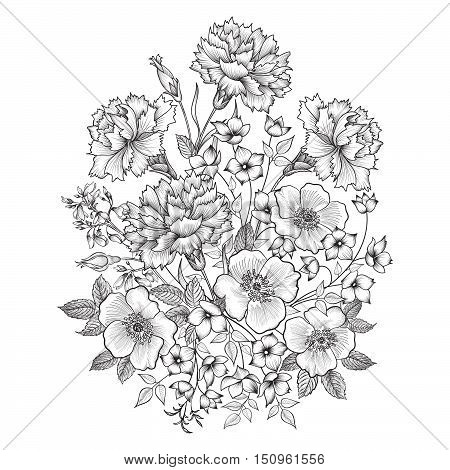 Flower bouquet. Floral etching frame. Flourish greeting card. Floral vintage cover. Flourish engraving background with copy space.