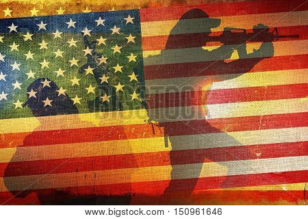 American Army Flag Concept with Soldier Silhouettes. US Army.