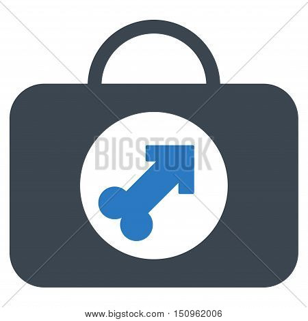 Male Erection Case vector icon. Style is bicolor flat symbol, smooth blue colors, rounded angles, white background.