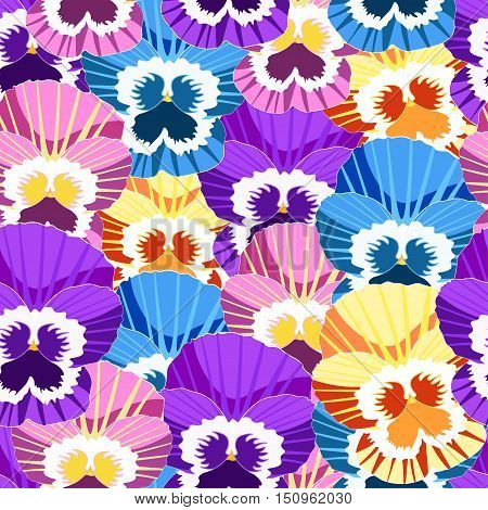 Seamless Pattern With No Gaps Violet Flowers Of Pansies. Vector Illustration