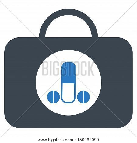 Male Sexual Toolbox vector icon. Style is bicolor flat symbol, smooth blue colors, rounded angles, white background.