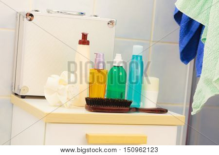 Beauty body care luxury and hygiene concept - bottles with liquid soap or body lotion cosmetics set in bathroom