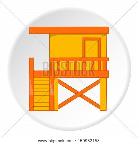 Rescue booth on beach icon. Cartoon illustration of rescue booth on beach vector icon for web