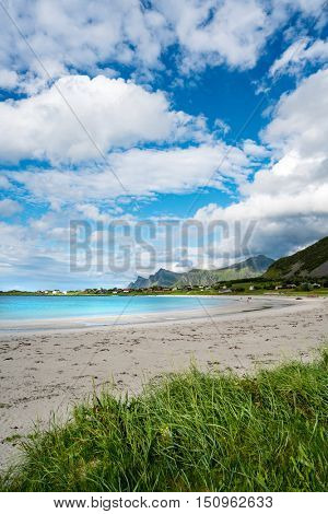Beach Lofoten islands is an archipelago in the county of Nordland, Norway. Is known for a distinctive scenery with dramatic mountains and peaks, open sea and sheltered bays, beaches
