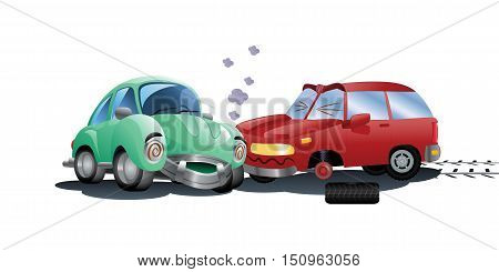 illustration of a red car destroyed in a crash hitting green car on isolated white background