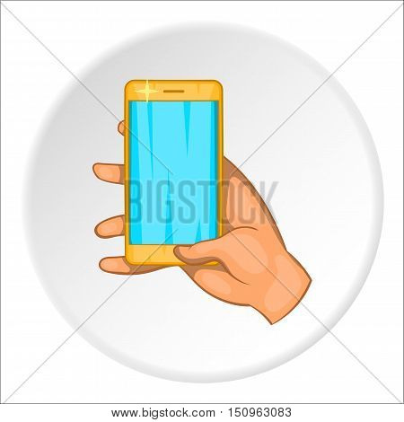 Hand works on mobile phone icon. Cartoon illustration of hand works on mobile phone vector icon for web