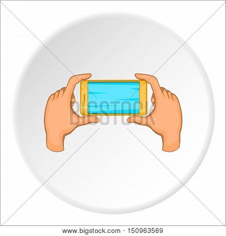 Hands holding cell phone icon. Cartoon illustration of hands holding cell phone vector icon for web