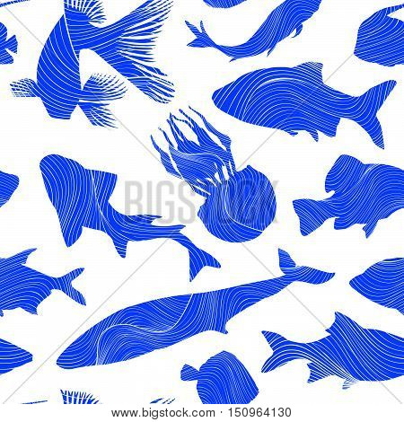 Fish seamless pattern Underwater marine life texture.  Wildlife animal seafood background. Ornamental fishing vector sketch