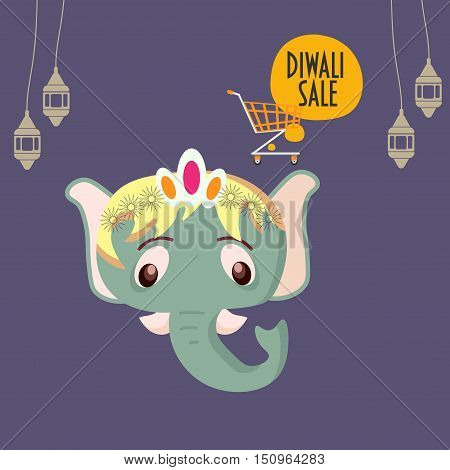 Diwali Sale Promotion Template. Cartoon Styled Elephant Head, Shopping Cart, Lanterns. Festival of Lights Poster. Speech bubble with text