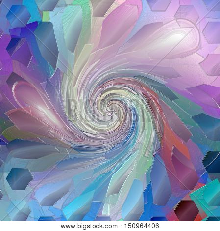 Abstract coloring background of the horizon gradient with visual lighting,mosaic,cubism, pinch,plastic wrap and twirl effects.Good for your project design