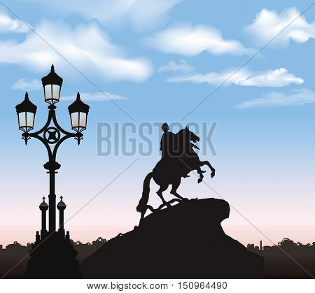 St. Petersburg cty landmark Russia. Peter the Great Monument Saint Petersburg russian cityscape background.