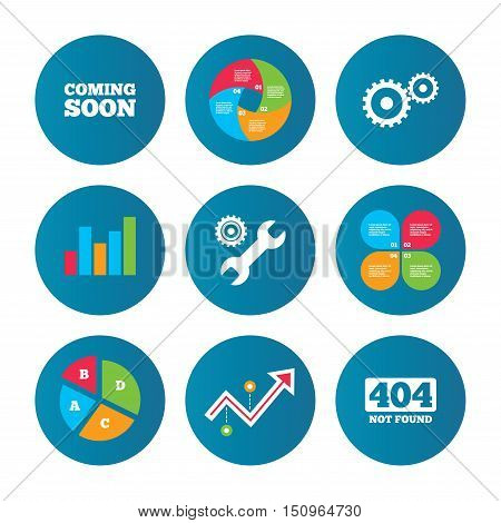 Business pie chart. Growth curve. Presentation buttons. Coming soon icon. Repair service tool and gear symbols. Wrench sign. 404 Not found. Data analysis. Vector