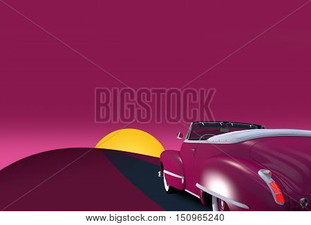 Vintage Convertible Oldtimer Car 3D Render Illustration with Copy Space.