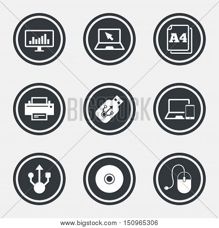 Computer devices icons. Printer, laptop signs. Smartphone, monitor and usb symbols. Circle flat buttons with icons and border. Vector