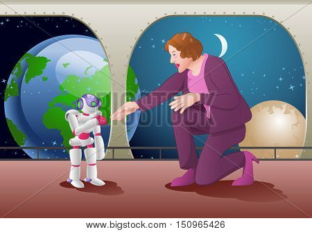 illustration of woman try to hand shake with a droid robot on space station room background