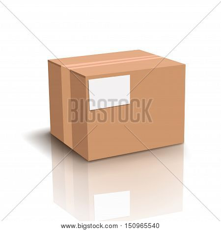 illustration of carton box with shadow on white background