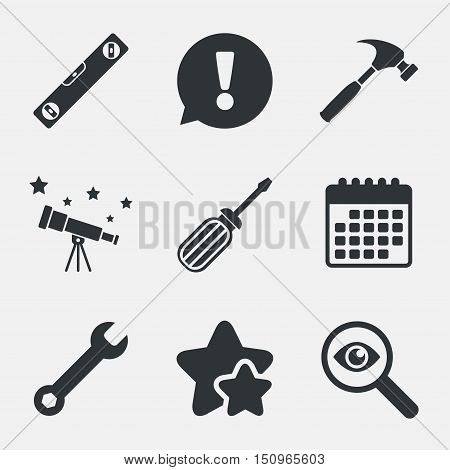 Screwdriver and wrench key tool icons. Bubble level and hammer sign symbols. Attention, investigate and stars icons. Telescope and calendar signs. Vector