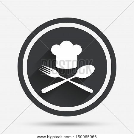 Chef hat sign icon. Cooking symbol. Cooks hat with fork and spoon. Circle flat button with shadow and border. Vector