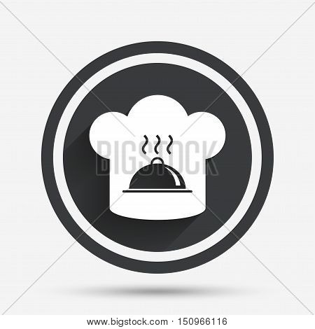 Chef hat sign icon. Cooking symbol. Cooks hat with hot dish. Circle flat button with shadow and border. Vector