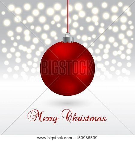 Christmas card with ball on sparkling background. Vector Illustration. Xmas and New Year
