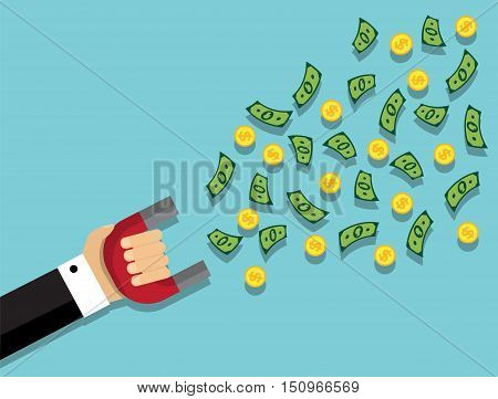 hand in a suit holding a magnet and a magnet flying money and coins