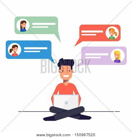 Happy guy is overwritten with the girls on a dating site. Communication via chat or e-mail on the Internet. A man sits with a laptop on his knees. Vector illustration in flat style
